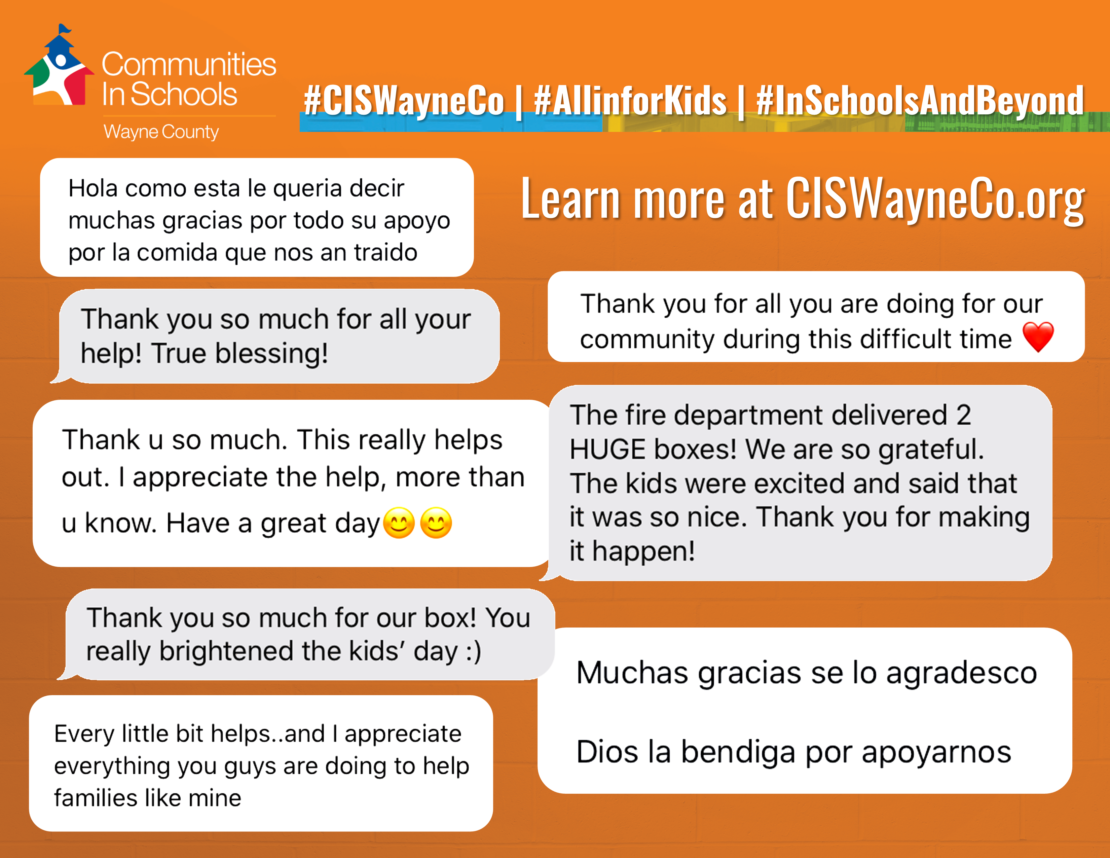 Graphic with expressions of gratitude from the CIS website.