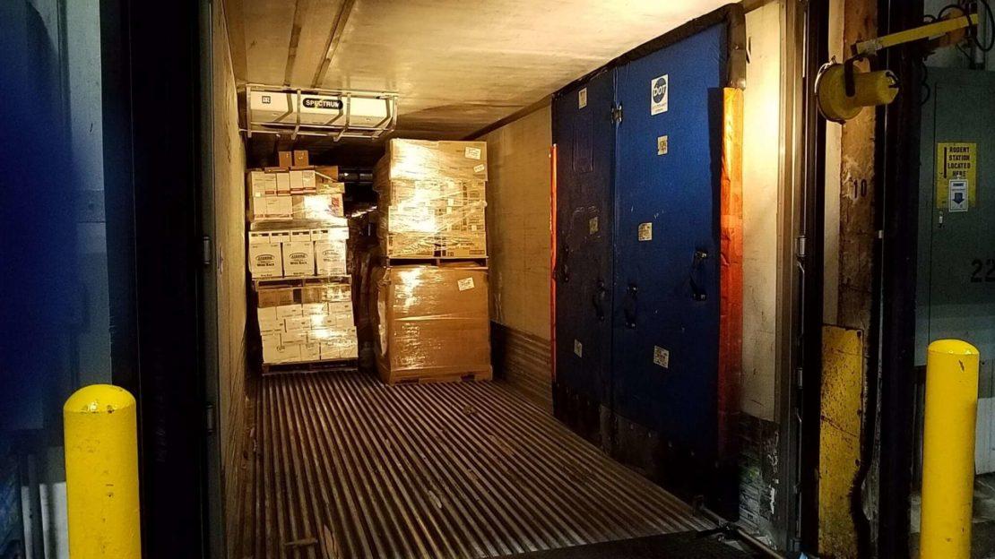 inside empty trailer